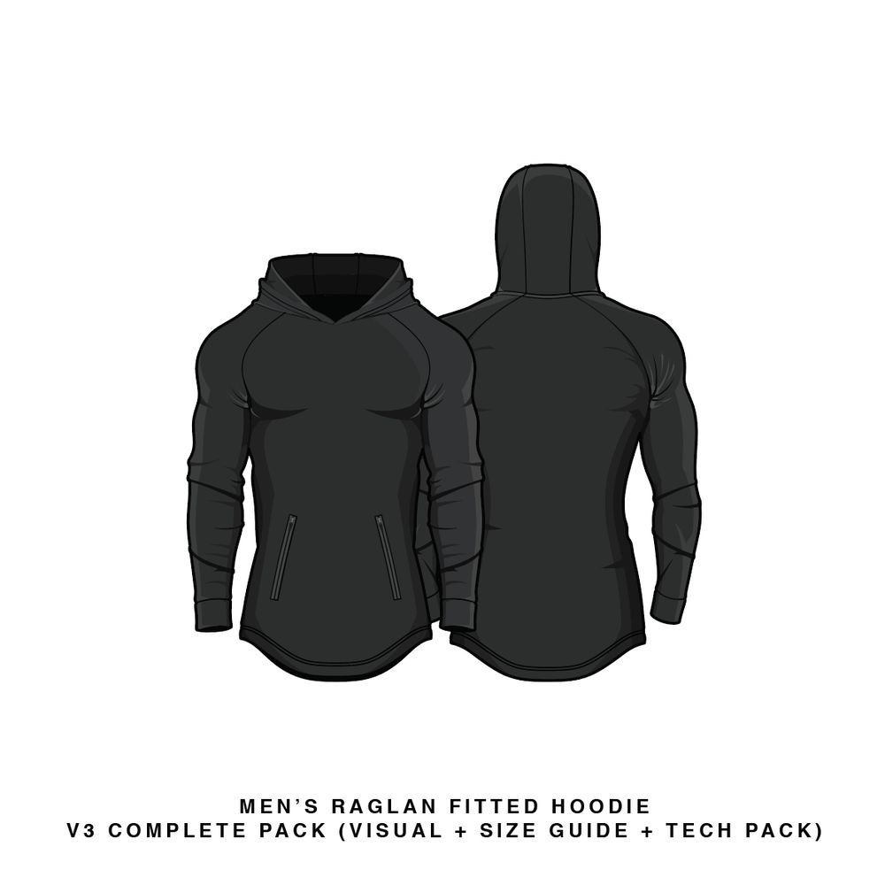 Download Fitted Raglan Hoodie V3 Hoodie Vector & PSD Template
