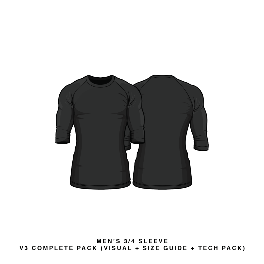 Black t shirt vector photoshop - Black T Shirt Vector Template Download Men S 3 4 Sleeve Shirts Vector Psd Template