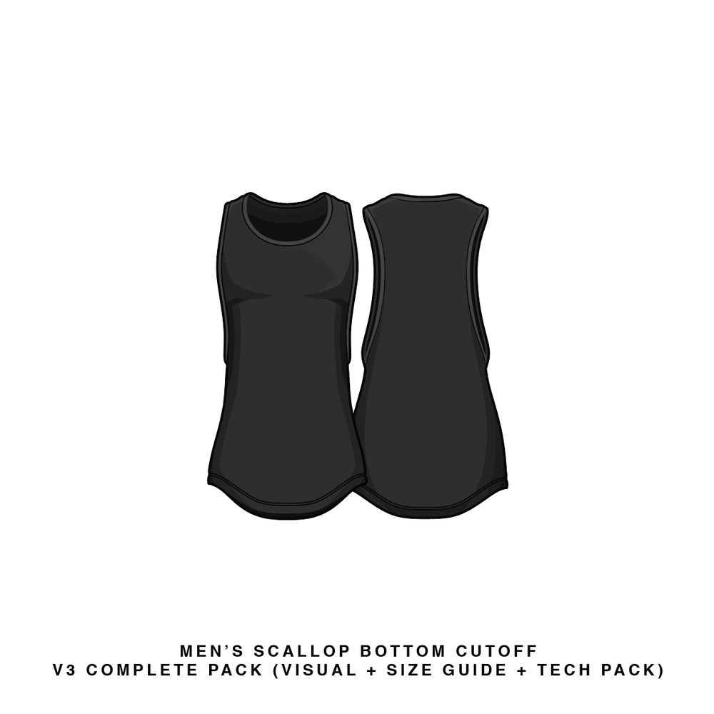 Download Men's Scallop Bottom Cut Off V3 Sleeveless Vector & PSD Template