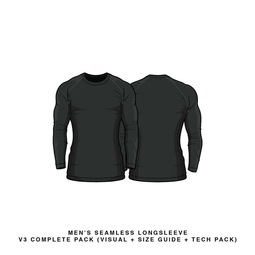 Download Men's Seamless Long Sleeve V3 Long Sleeve Vector & PSD Template