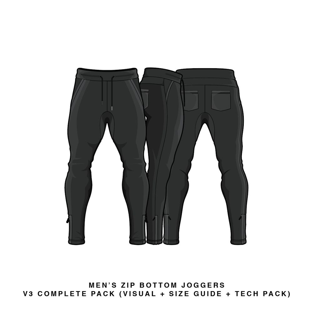 Download Men's Zip Bottom Joggers V3 Joggers Vector & PSD Template
