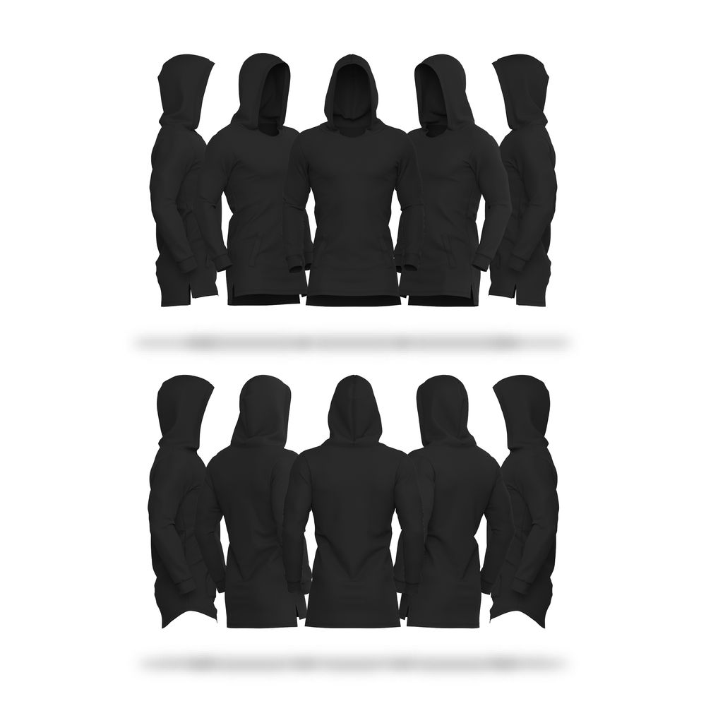 Download Mens Fitted Hoodie Stepped Hem V4 Hoodie Vector & PSD Template