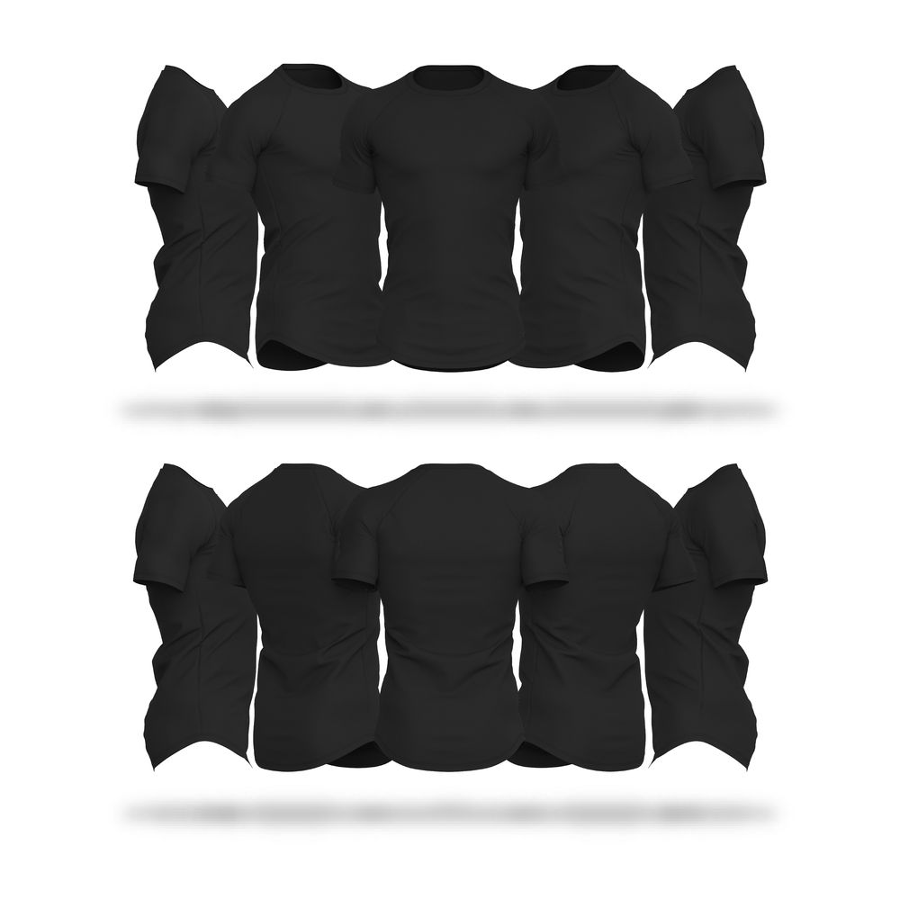 Download Mens Raglan Sleeve Scallop Bottom Hem V4 Shirts Vector & PSD Template