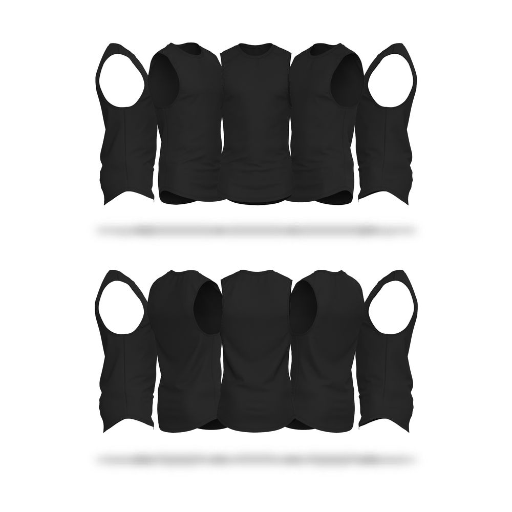 Download Mens Scallop Bottom Cutoff V4 Sleeveless Vector & PSD Template